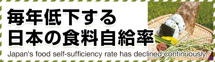 毎年低下する日本の食料自給率